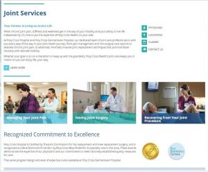 Web writing for Holy Cross Health Joint website